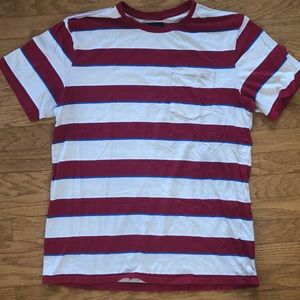 BRIXTON RED AND WHITE STRIPE SHIRT MENS SIZE XL